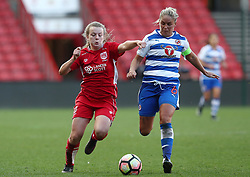 Lauren Hemp of Bristol City Women battles for the ball with Kirsty McGee of Reading Women - Mandatory by-line: Gary Day/JMP - 22/04/2017 - FOOTBALL - Ashton Gate - Bristol, England - Bristol City Women v Reading Women - FA Women's Super League 1 Spring Series