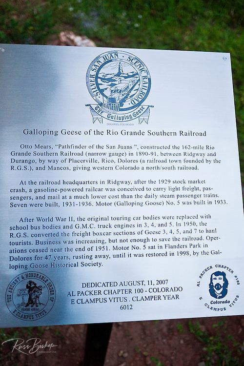 Interpretive sign at the historic Rio Grande Southern Galloping Goose, Dolores, Colorado