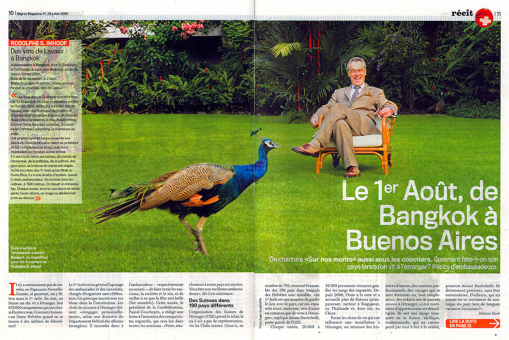 Assignment for Swiss Magazine Migros.  ....Swiss Ambassador, Dr. Rodolphe S. Imhoof, at his residence in the Embassy of Switzerland, Bangkok, Thailand, on Thursday, July 17, 2008.