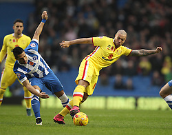 Biram Kayal of Brighton & Hove Albion and Samir Carruthers of Milton Keynes Dons challenge for the ball - Mandatory byline: Robbie Stephenson/JMP - 07966 386802 - 07/11/2015 - FOOTBALL - Falmer Stadium - Brighton, England - Brighton v MK Dons - Sky Bet Championship