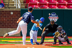 25 May 2019:  Peyton Sherlin pitches, Herbert Iser catches, Jarrod Watkins bats a homerun and Bill McGuire makes the calls. Missouri Valley Conference Baseball Tournament - Dallas Baptist Patriots v Indiana State Sycamores at Duffy Bass Field in Normal IL<br /> <br /> #MVCSPORTS