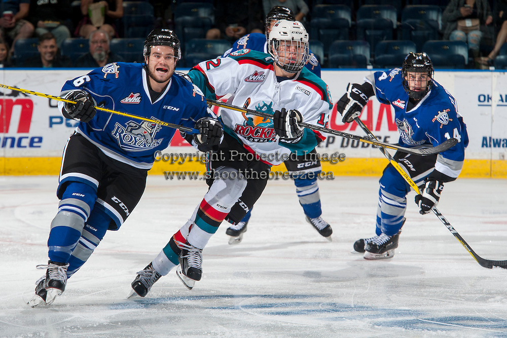KELOWNA, CANADA - SEPTEMBER 3: Blake Bargar #16 of Victoria Royals checks Ted Brennan #12 of Kelowna Rockets during first period on September 3, 2016 at Prospera Place in Kelowna, British Columbia, Canada.  (Photo by Marissa Baecker/Shoot the Breeze)  *** Local Caption *** Blake Bargar; Ted Brennan;