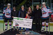 KELOWNA, CANADA - JANUARY 30:  Save on Foods presentation with Conner Bruggen-Cate (20) of the Kelowna Rockets, Jack Cowell (8) of the Kelowna Rockets at the Kelowna Rockets game on January 30, 2018 at Prospera Place in Kelowna, British Columbia, Canada.  (Photo By Cindy Rogers/Nyasa Photography,  *** Local Caption ***
