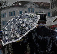 Biedermeier festival in Heiden, Switzerland in Septembet 2010, top hat, umbrella, parasol
