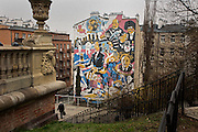 A mural painting in 2010 on a building across from the Chopin Museum in Warsaw.