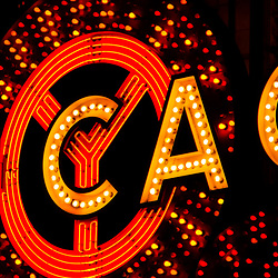 Chicago Theatre sign panorama photo marquee at night. The Chicago Theater is a Chicago Landmark and is listed with the National Register of Historic Places.