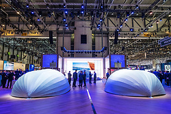 Volvo stand with new cars covered before official press conference at 87th Geneva International Motor Show in Geneva Switzerland 2017
