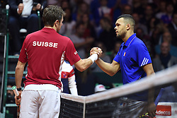 21.11.2014, Stade Pierre Mauroy, Lille, FRA, Davis Cup Finale, Frankreich vs Schweiz, im Bild Stanislas Wawrinka (SUI) und Jo Wilfried Tsonga (FRA) // during the Davis Cup Final between France and Switzerland at the Stade Pierre Mauroy in Lille, France on 2014/11/21. EXPA Pictures © 2014, PhotoCredit: EXPA/ Freshfocus/ Valeriano Di Domenico<br /> <br /> *****ATTENTION - for AUT, SLO, CRO, SRB, BIH, MAZ only*****