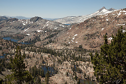"""Desolation Wilderness View 2"" - Photograph from a vista point of the Tahoe Desolation Wilderness. Susie Lake can be seen on the left and a sliver view of Lake Aloha can be seen in the top distance."