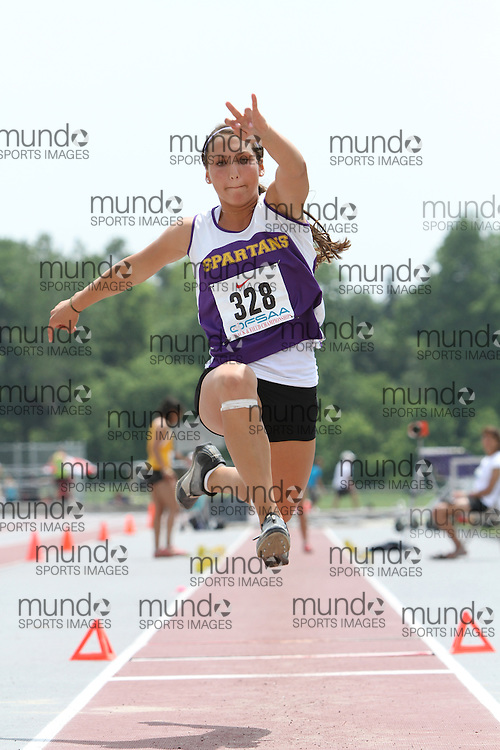 (London, Ontario}---04 June 2010) Katie Flemington of Centennial - Guelph competing in the senior girls triple jump at the 2010 OFSAA Ontario High School Track and Field Championships in London, Ontario, June 04, 2010 . Photograph copyright Laura Barclay / Mundo Sport Images, 2010.
