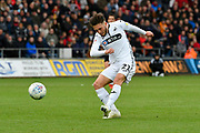 Matt Grimes (21) of Swansea City shoots at goal during the EFL Sky Bet Championship match between Swansea City and Reading at the Liberty Stadium, Swansea, Wales on 27 October 2018.