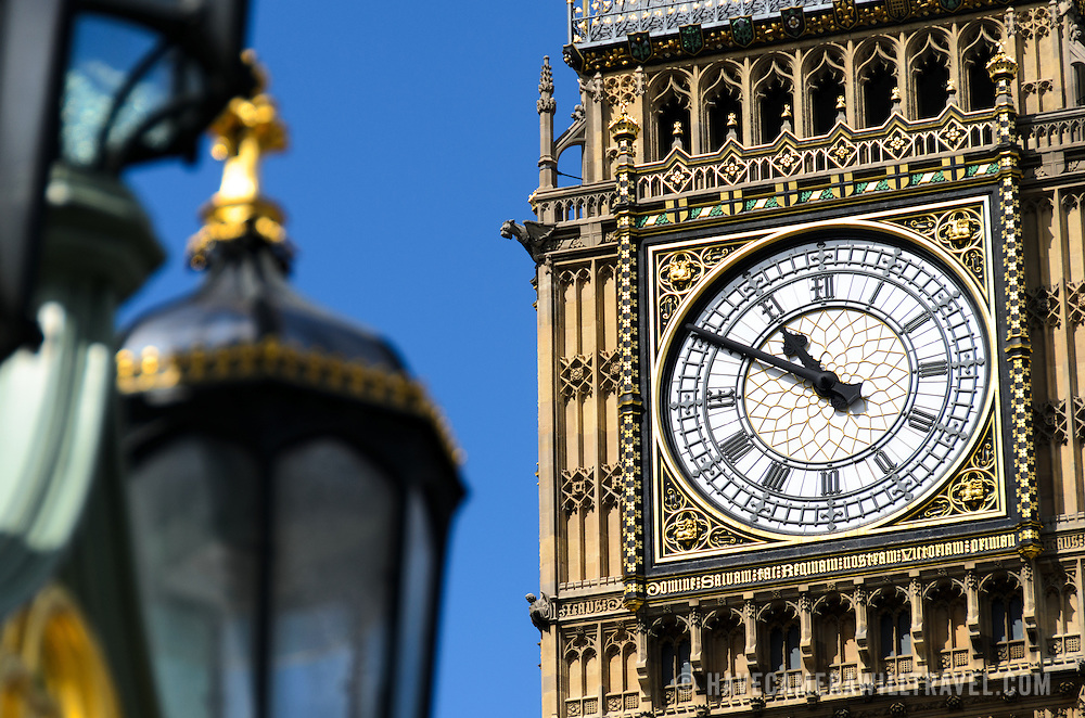 Big Ben Clock Detail 169-095201626 The clock of Elizabeth Tower (commonly known as Big Ben) on the Palace of Westminster, with some of the ornate streets lights of Westminster Bridge in the foreground.