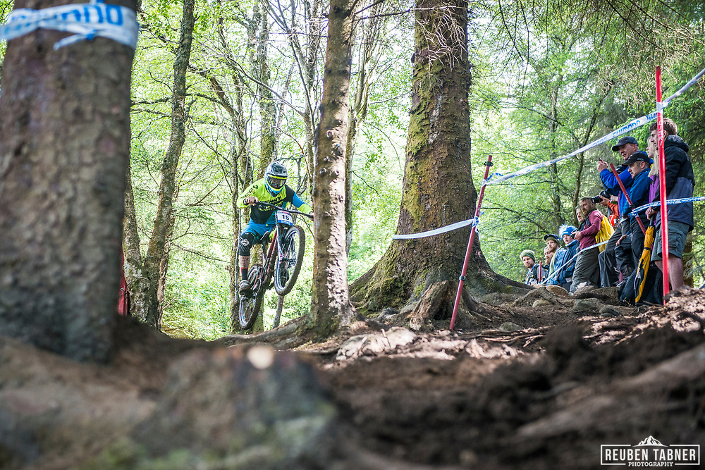 Samuel Blenkinsop of Norco Factory Racing during the qualifying  round of the UCI Mountain Bike World Cup at Fort William in Scotland.