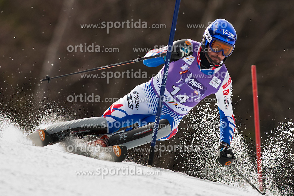 11.03.2012, Podkoren 3, Kranjska Gora, SLO, FIS Weltcup Ski Alpin, Herren, Salom, 1. Durchgang, im Bild Jean Baptiste Grange (FRA) // Jean Baptiste Grange of France during mens Slalom 1st run of FIS Ski Alpine World Cup at 'Podkoren 3' course in Kranjska Gora, Slovenia on 2012/03/11. EXPA Pictures © 2012, PhotoCredit: EXPA/ Johann Groder