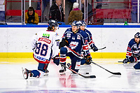 2020-01-22   Kallinge, Sweden: Krif hockey (24) André Nordstrand talking to Halmstad Hammers (88) Oscar Jacobsson during the warming up before the game between Krif hockey and Halmstad Hammers at Soft Center Arena (Photo by: Jonathan Persson   Swe Press Photo)<br /> <br /> Keywords: kallinge, Ishockey, Icehockey, hockeyettan, allettan södra, soft center arena, krif hockey, halmstad hammers (Match code: krhh200122)