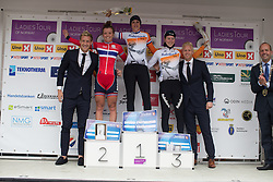 Lucinda Brand (NED) of Rabo-Liv Cycling Team celebrates her win on the podium with second placed Susanne Andersen (NOR) of Team Norway (L) and  third Thalita de Jong (NED) of Rabo-Liv Cycling Team (R) after the 97,1 km second stage of the 2016 Ladies' Tour of Norway women's road cycling race on August 13, 2016 between Mysen and Sarpsborg, Norway. (Photo by Balint Hamvas/Velofocus)