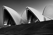 Sydney opera house before sunrise, this photo shows graphic patterns of the architecture.