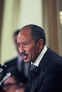 Anwar Sadat speaking at the National Press Club during the days he was in Washington for the Middle East Peace Accords.<br /> Photo by Dennis Brack