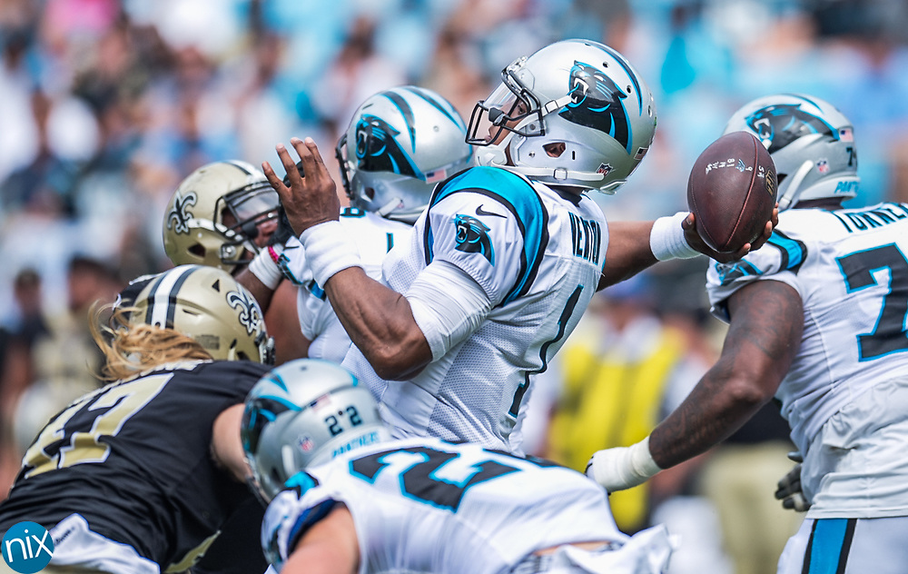 Carolina Panther Cam Newton (1) looks to pass against the New Orleans Saints at Bank of American Stadium on Sunday, September 24, 2017 in Charlotte, NC.