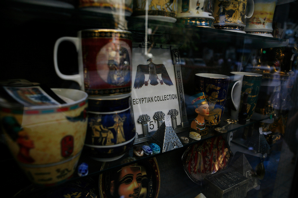 The window of a shop selling Egyptian paraphernalia in Cairo.