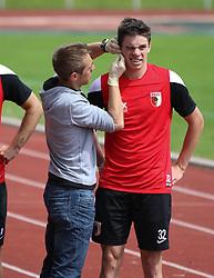 29.06.2015, Ernst-Lehner-Stadion, Augsburg, GER, 1. FBL, FC Augsburg, Trainigsauftakt, Laktat-Test, im Bild Blutentnahme fuer den Laktat-Test bei Raphael Framberger (FC Augsburg #32), // during a traning session of German 1st Bundeliga Club FC Augsburg at the Ernst-Lehner-Stadion in Augsburg, Germany on 2015/06/29. EXPA Pictures © 2015, PhotoCredit: EXPA/ Eibner-Pressefoto/ Krieger<br /> <br /> *****ATTENTION - OUT of GER*****