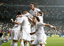 10.12.2011, Santiago Bernabeu Stadion, Madrid, ESP, Primera Division, Real Madrid vs FC Barcelona, 15. Spieltag, im Bild Real Madrid's Marcelo. Sergio Ramos, Mesut Özil and Karim Benzema celebrate with other players // during the football match of spanish 'primera divison' league, 15th round, between Real Madrid and FC Barcelona at Santiago Bernabeu stadium, Madrid, Spain on 2011/12/10. EXPA Pictures © 2011, PhotoCredit: EXPA/ Alterphotos/ Alvaro Hernandez..***** ATTENTION - OUT OF ESP and SUI *****