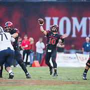 03 September 2016: The San Diego State Aztecs football team open's up the season at home against the University of New Hampshire Wildcats.  San Diego State quarterback Christian Chapman (10) drops back to pass in the first quarter against New Hampshire. The Aztecs lead 21-0 at halftime. www.sdsuaztecphotos.com