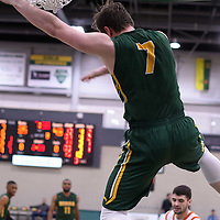 5th year forward Travis Sylvestre (7) of the Regina Cougars during the 5th year night on February  11 at Centre for Kinesiology, Health and Sport. Credit: Arthur Ward/Arthur Images