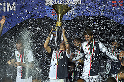 May 19, 2019 - Turin, Turin, Italy - Mart'n C‡ceres,Leonardo Bonucci, Paulo Dybala of Juventus FC lifts the trophy of Scudetto  2018-2019 at Allianz Stadium, Turin (Credit Image: © Antonio Polia/Pacific Press via ZUMA Wire)
