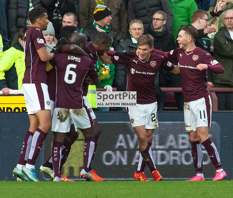 Celebrations for #11 Sam Nicholson's (Heart of Midlothian) equaliser • Heart of Midlothian v Celtic • Ladbrokes Premiership • 27 December 2015 • © Russel Hutcheson | SportPix.org.uk