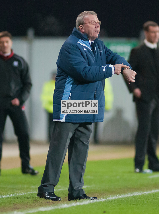 Falkirk Assistant Manager Alex Smith remind the Ref that there is injury time to play ,Falkirk v Ayr, SFL Division 1 League Match, Falkirk Stadium