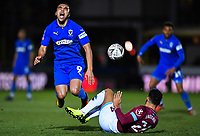Football - 2018 / 2019 Emirates FA Cup - Fourth Round: AFC Wimbledon vs. West Ham United<br /> <br /> AFC Wimbledon's Kwesi Appiah is fouled by West Ham United's Ryan Fredericks, at Cherry Red Records Stadium (Kingsmeadow).<br /> <br /> COLORSPORT/ASHLEY WESTERN