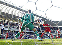Photo: Andrew Unwin.<br />Middlesbrough v West Ham United. The Barclays Premiership. 17/04/2006.<br />West Ham's Teddy Sheringham heads the ball just wide of the goal.