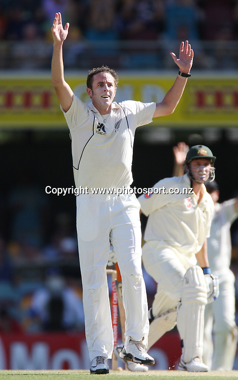 Iain O'Brien appeals successfully to dismiss Mike Hussey during day 2 of the first test match between Australia and New Zealand at the Gabba. Brisbane, Australia. Friday 21 November 2008. Pic: Andrew Cornaga/PHOTOSPORT