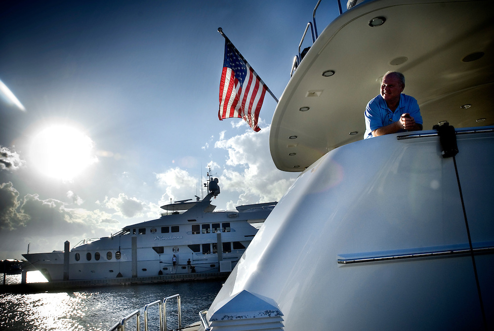 Travel story about Fort Lauderdale, Florida.Captain X of late Johny Carson's 130-foot yacht Serendepidy. A captain typically makes around $1000/foot/ year...Photographer: Chris Maluszynski /MOMENT
