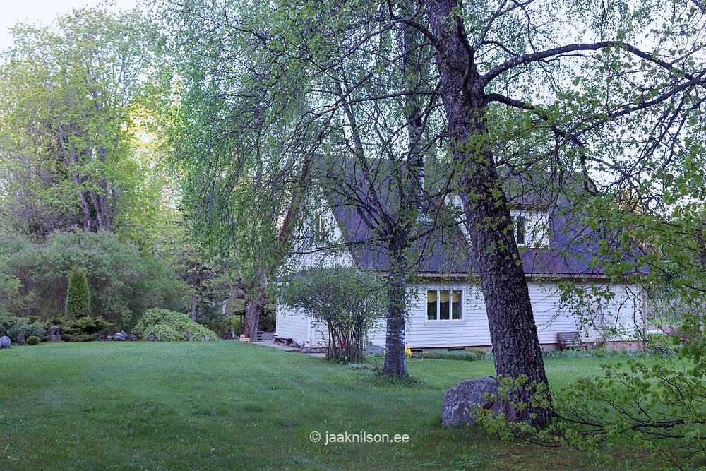 Building in Estonia. Countryside, homestead wirh garden, lawn, trees.