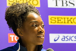 London, 03 August 2017. Tianna Bartoletta, 2016 Olympic and 2015 World long jump champion at Team USATF press conference ahead of the IAAF World Championships London 2017 at the London Stadium.