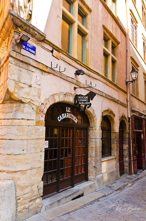 Le Cabaretier Restaurant in old town Vieux Lyon, France (UNESCO World Heritage Site)