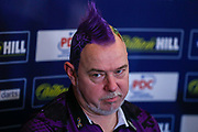 Peter Wright (Scotland) during his post-match press conference after his win over Michael Van Gerwen (Netherlands) (not in picture) in the final of the PDC William Hill World Darts Championship at Alexandra Palace, London, United Kingdom on 1 January 2020.