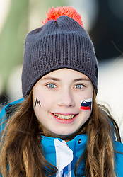 "Slovenian supporters  during FIS Alpine Ski World Cup 2014/15 5th Ladies' Slalom race named ""Snow Queen Trophy 2015"", on January 4, 2015 in Course Crveni Spust at Sljeme hill, Zagreb, Croatia.  Photo by Vid Ponikvar / Sportida"