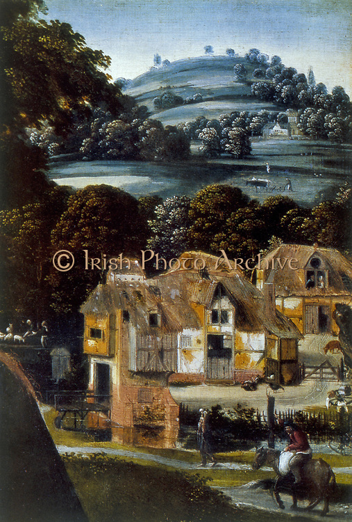 Virgin and Child' Detail: Thatched buildings on edge of woods and fields. Rider and pedestrian in foreground.  Anonymous: 16th century. Oil on wood. Hermitage.