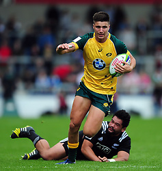 Jack Maddocks of Australia U20 takes on the New Zealand defence - Mandatory byline: Patrick Khachfe/JMP - 07966 386802 - 25/06/2016 - RUGBY UNION - AJ Bell Stadium - Manchester, England - Australia U20 v New Zealand U20 - World Rugby U20 Championship 2016 5th Place Play-Off.