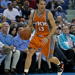 08 April 2009: Phoenix Suns guard Steve Nash (13) drives with the ball during a 105-100 loss by the New Orleans Hornets to the Phoenix Suns at the New Orleans Arena in New Orleans, Louisiana.