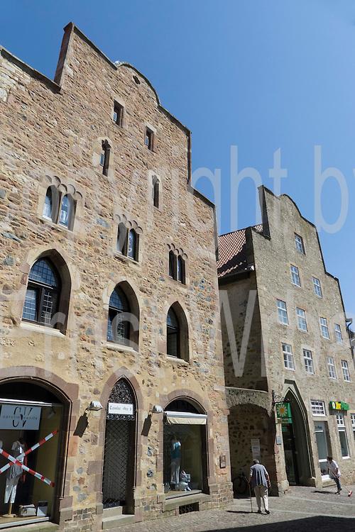 mittelalterliche Steinhäuser, Altstadt, Fritzlar, Nordhessen, Hessen, Deutschland | medieval stone buildings, old town, Fritzlar, Hesse, Germany