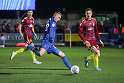 AFC Wimbledon striker Joe Pigott (39) shoots at goal during the EFL Sky Bet League 1 match between AFC Wimbledon and Ipswich Town at the Cherry Red Records Stadium, Kingston, England on 11 February 2020.