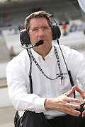 Indy Car owner and IMS CEO Tony George seen in the pits during qualifications for the Indy 500. Photo by Michael Hickey