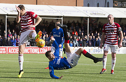 Rangers' Kyle Lafferty attempts a shot during the Scottish Premiership match at the Superseal Stadium, Hamilton.