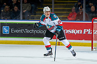 KELOWNA, CANADA - JANUARY 30:  Leif Mattson #28 of the Kelowna Rockets skates against the Seattle Thunderbirds on January 30, 2019 at Prospera Place in Kelowna, British Columbia, Canada.  (Photo by Marissa Baecker/Shoot the Breeze)