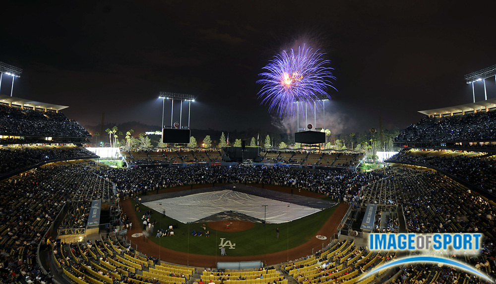 Jul 12, 2008; Los Angeles, CA, USA; Fireworks explodes over Dodger Stadium after game between the Florida Marlins and Los Angeles Dodgers.