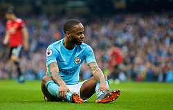 MANCHESTER, ENGLAND - Saturday, April 7, 2018: Manchester City's Raheem Sterling looks dejected after missing a chance during the FA Premier League match between Manchester City FC and Manchester United FC at the City of Manchester Stadium. (Pic by David Rawcliffe/Propaganda)